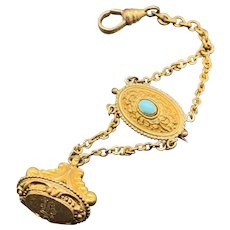 Vintage Watch chain pin with monogrammed watch FOB marked B&F