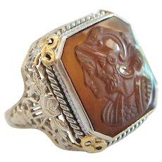 Antique Hardstone Cameo & 14K White Gold Filigree Ring - Size 8 - U.S. - Circa 1910