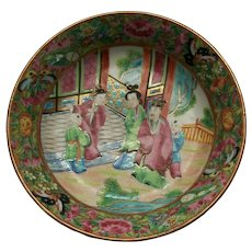 Antique Canton 'Famille Rose' Porcelain Plate - Unsigned - China - 19th Century