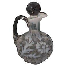 Antique Spanish Lace Opalescent & Clear Glass Cruet - Unsigned - U.S.A. - Circa 1890