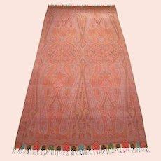 "Antique Victorian Paisley Shawl - Fine Weave - 142"" x 66"" - Circa 1850's"