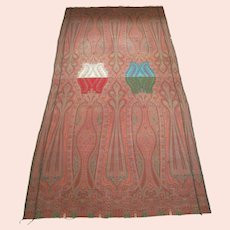 "Antique Paisley Shawl - Fine Weave - 128.5"" x 61"" - Scotland - Circa 1850's"