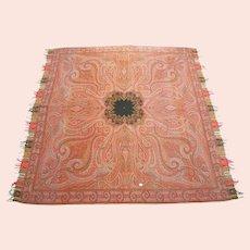 """Antique Victorian Paisley Shawl - Fine Weave - 72"""" Square - Circa 1850's"""