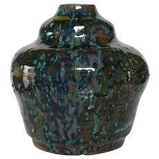 Art Nouveau Studio Pottery Vase - Terracotta with Splash Glaze - 20th Century