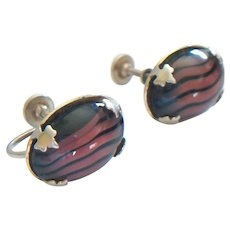 Arts & Crafts Faux Stone Earrings - Unsigned - U.S.A. - Early 20th Century