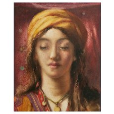 CHARLES A. HADFIELD - Framed Orientalist Portrait Painting - U.K. - Circa 1911