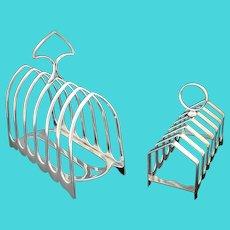 Pair of elegant antique Victorian silver plated toast racks