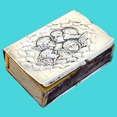 Antique Edwardian solid sterling silver vesta/match box holder case with a cherub design