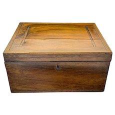 Large wooden rectangular Victorian workbox / jewellery box with inlaid walnut design