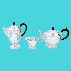 Art Deco 1920's silver plate bakelite silver plated 3 piece coffee/tea set