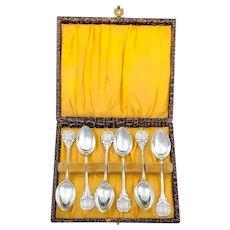 Edwardian sterling silver novelty shooting / rifling 6 piece teaspoon set