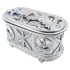 Antique 19th Century French Napoleon III silver on copper jewellery casket with hunting scene