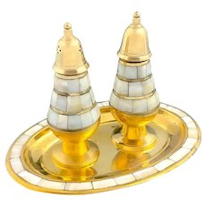 Vintage 1960's brass and mother of pearl condiment pair of salt and pepper shakers on oval tray