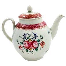 18th century Seth Pennington, Liverpool soft paste porcelain floral tea pot