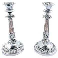 Antique Georgian Matthew Boulton Old Sheffield silver plate candlesticks