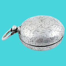 Victorian sterling silver pocket sovereign case with a fob ring