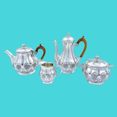 Antique French Empire 4 piece Gallia Christofle silver plated coffee tea set