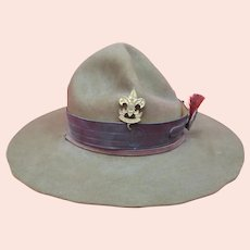 Boy Scout Campaign Hat With Hat Pin & Red Hat Plume