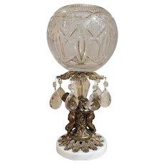 Vintage Hollywood Regency Brass Cherub Boudoir Lamp With Italian Marble Base and Cut Crystal Shade & Pendants