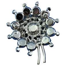 DeLizza and Elster  clear rhinestone brooch