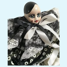 """Harlequin Pierrot Clown doll 18"""", signed by Linda M. Blood"""
