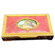 Wondeful Guliloche Gilt Rhinestone scene trinket box