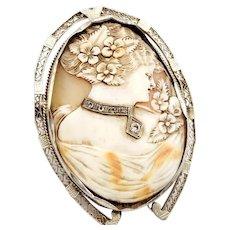 14kt White gold stunning Cameo with diamond collar and filigree horseshoe bezel