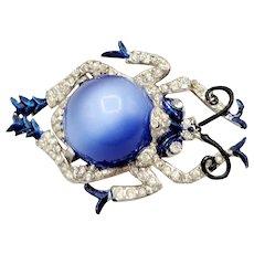 Vintage unsigned blue belly enamel and paste beetle fur clip brooch