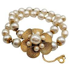 Signed Miriam Haskell flower baroque bracelet