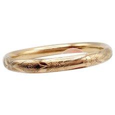 Vintage Gold filled etched bangle bracelet