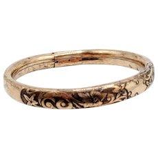 Victorian gold filled etched with black bangle bracelet