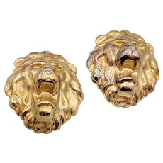 Huge Vintage lion panther repousse brass heay pierced earrings