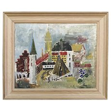 Vintage Mid Century Framed Cityscape Oil Painting - City Views