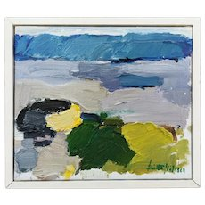 Vintage 1987 Abstract Framed Oil Painting - 'Abstract Palette'