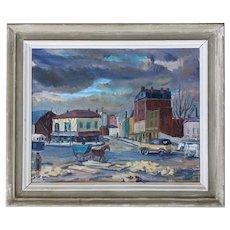 Vintage Mid Century 1938 Framed Cityscape Oil Painting - 'Paris en Hiver'