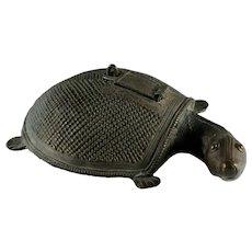 Antique 19th-century Indian Dhokra cast bronze Tortoise incense burner