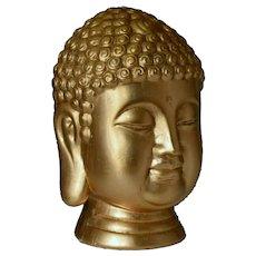 Large ceramic gold leaf gilded buddha head bust