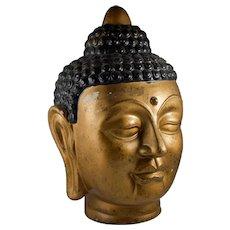 Large vintage gold painted ceramic Buddha bust