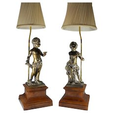 Large pair of Antique Bronze table lamps Putto on wooden bases