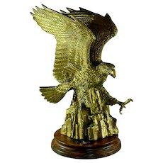 Impressive large antique Edwardian gilt bronze American Eagle statue