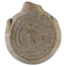 Ancient 6th-century Byzantine Roman (Egypt) Pilgrim flask depicting Saint Menas