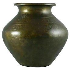 Antique 19th-century Indian bronze Lota water vessel Urn decorated with Lions