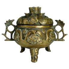 Antique Chinese Qing dynasty Bronze censor incense burner Lotus flower Xuande marks