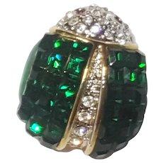 Green Rhinestone Bug Pin