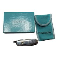 Tiffany & Co Knife Silver 18k Gold Swiss Knife 5 Tools Rare Gift Pouch