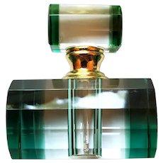 Green & Clear Art Deco Style Murano Glass Perfume Bottle