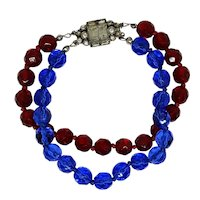 Red & Blue Lead Crystal Bracelet Sterling Germany Clasp