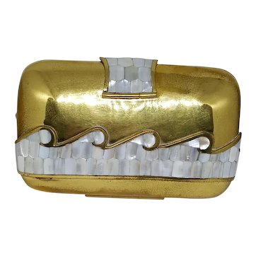 Ilas Brass & Mother of Pearl Ocean Wave Purse