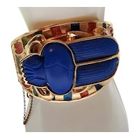Rare 1972 Thomas Fattorini Scarab Bangle Bracelet