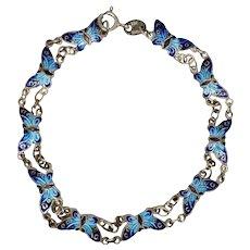 Sterling & Enamel Butterfly Bracelet